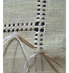Hemming with drawn thread work - DIY hand hemstitched linen handkerchiefs - would be good for a small embroidery project on a corner Hardanger Hemstitched Linen - how to hand sew a decorative edge on linen - via Little House on the Suburbs It's a handk Hardanger Embroidery, Hand Embroidery Stitches, Embroidery Techniques, Ribbon Embroidery, Sewing Techniques, Cross Stitch Embroidery, Embroidery Patterns, Stitch Patterns, Loom Patterns