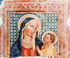 """Affresco del """"Maestro del trittico"""" sec XV Madre con Bambino, Cascia, Chiesa di S. Agostino"""