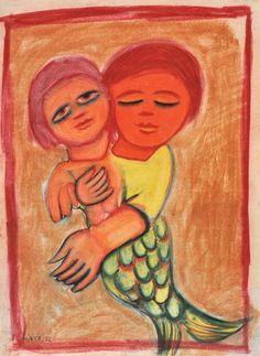 Mermaid and Child 1972 Pastel on paper: Mirka Madeleine Mora Australia Australian Painting, Australian Art, Aboriginal Art, Outsider Art, Art Object, Art Auction, Female Art, Art Inspo, Framed Art