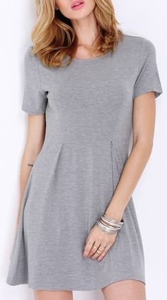 3fa7a4216e Sometimes a grey and short sleeve dress does the trick Grey Fashion