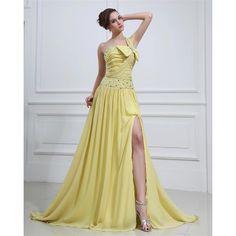 A-line One Shoulder Prom Dresses