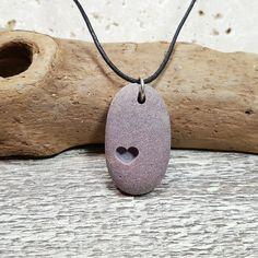 Heart Necklace carved beach rock jewelry heart by RockYouWear