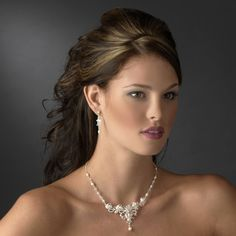 Lovely Freshwater Pearl and Crystal Wedding Jewelry Set with vintage inspiration  - Affordable Elegance Bridal -