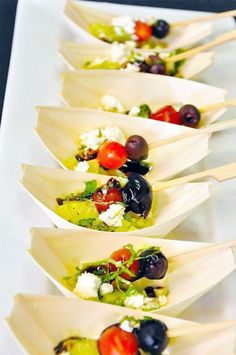 Greek Salad Feta Boats    Bites- Party Food Ideas @frostedevents Pinspiration! Party Food Board