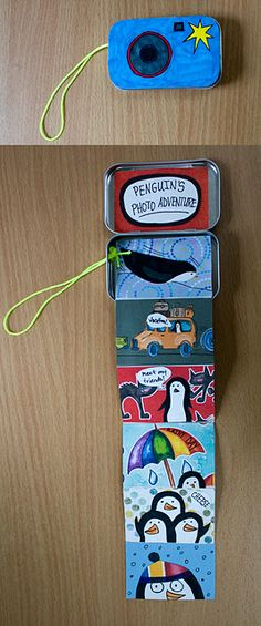 Children will enjoy listening to the book, Penguins by Liz Pichon before transforming a mint tin into a camera shaped accordion book. Ages 5 and up. Art For Kids, Crafts For Kids, Arts And Crafts, Accordian Book, Tarjetas Diy, Library Art, Mint Tins, Little Presents, Ecole Art