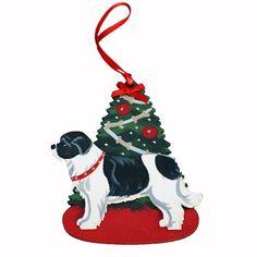 Decorated Tree & Newfoundland Dog Ornament - Landseer