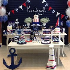 Ideas Baby Boy Shower Nautical Theme Decoration For 2019 – Baby Shower İdeas 2020 Nautical Birthday Cakes, Boys First Birthday Cake, Nautical Party, Boy Birthday Parties, Baby Birthday, Nautical Mickey, Sailor Baby Showers, Anchor Baby Showers, Baby Shower Niño