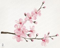 Watercolor cherry blossom cherry tree sakura от GrafikBoutique