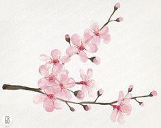 Watercolor cherry blossom cherry tree sakura by GrafikBoutique