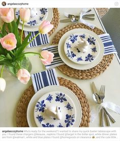 Spring. Blue & White Table Setting. Pop of Pink