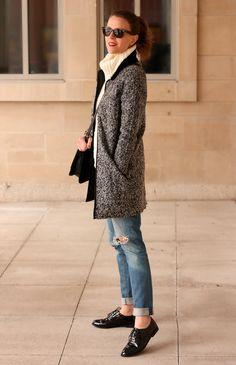 Tweed coat + patent brogues