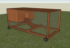 chicken coop on wheels. Keeps chickens protected while giving them access to grass/dirt/rocks from fresh patches of yard.