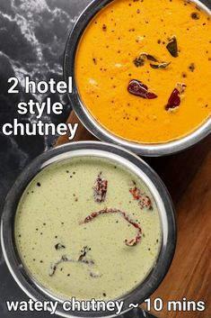 hotel style chutney recipe | coconut chutney hotel style | hotel style red chutney for dosa & idli with step by step photo and video recipe. chutney or spicy side dish recipes are a must for most of the south indian breakfast recipes. but to these condiments, there are myriad ways to make it which differs with a set of ingredients, spices and the way it is made. but it can also differ with the consistency as well and hotel style chutney both coconut and red chutney is one such variation. South Indian Breakfast Recipes, Indian Dessert Recipes, Indian Recipes, Pakora Recipes, Chaat Recipe, Spicy Recipes, Curry Recipes, Vegetable Recipes, Kitchen Recipes