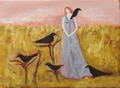 @EverywomanArt   Red Sky Morning with Crows, original oil painting on 6x8 inch canvas ready to hang