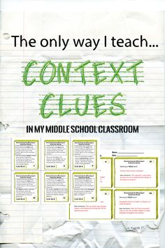 Task cards designed to help middle school students master the tough skill of using context clues to determine word meaning! Teacher-tested, student-approved!