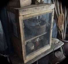 Primitive country pie cupboard at Sweet Liberty Homestead new store, SLHPRIMITIVES! Old dry worn wood. Perfect for cooling those country pies or filling with canning jars. LOVE!