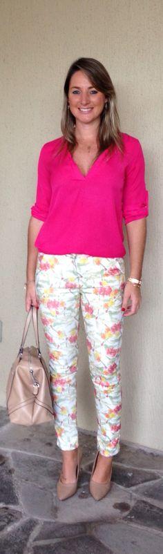 Look de trabalho - look do dia - moda corporativa - calça estampada - blusa pink - floral pants - calça florida