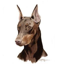 DOBERMAN PINSCHER Dog Art Print Signed by Artist DJ Rogers