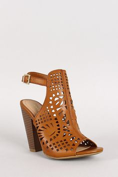 Bamboo Mash-03 Ankle Strap Cut Out Open Toe Heels