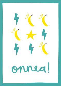 Onnea (banaanit & salamat) postikortti