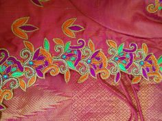 Blouse Neck Designs, Blouse Patterns, Maggam Works, Orange Blouse, Thread Work, Work Blouse, Embroidered Blouse, Saree Blouse, Ash