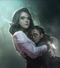 Elizabeth saving Sally, the Little Sister, in Rapture. Bioshock Infinite Burial at Sea Bioshock Game, Bioshock Series, Cthulhu, Bioshock Elizabeth, Underwater City, Arte Cyberpunk, Sr1, Video Game Art, Video Games