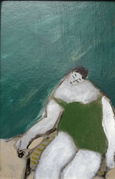 """Saatchi Art is pleased to offer the painting, """"Green Bathing Suit,"""" by Gigi Mills. Original Painting: Oil on Cardboard. Size is 0 H x 0 W x 0 in. Painting Inspiration, Art Inspo, Painting Courses, Galerie D'art, Portraits, Art Sketchbook, Illustrations, Figure Painting, Figurative Art"""