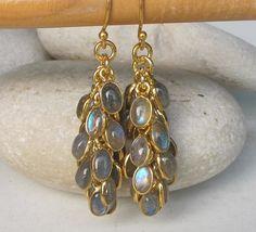 Grape Labradoite Earrings Silver Labradorite Earrings by Belesas