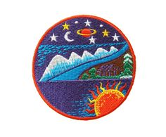 Galaxy Sun Earth Moon Star Nature Embroidered Applique by DIYMINT