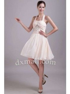 A-line Bridesmaid Dresses Halter Short/Mini Chiffon Pink 11001010010