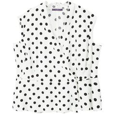 Polka Dot Cross Blouse (3.945 RUB) ❤ liked on Polyvore featuring tops, blouses, sleeveless blouse, sleeveless tops, white sleeveless blouse, white blouse and sleeveless ruffle blouse