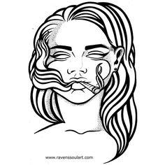 """Should I do more stippling?  ""Smoke"" 8x11"" ballpoint pen illustration.  #sketch #drawing #illustration #portrait #smoke #stippling #lineart #bnw…"""
