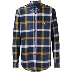 Etro plaid button-down shirt ($370) ❤ liked on Polyvore featuring men's fashion, men's clothing, men's shirts, men's casual shirts, blue, mens plaid shirts, mens blue plaid shirt, mens navy blue button up shirt, etro men's shirts and mens plaid button down shirts