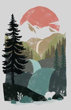 distressed sunset Art Print by ChelsiDawnDrawn - X-Small Desenhos Love, Illustration Art, Illustrations, Sunset Art, Guache, Ipad Art, Fall Wallpaper, Cool Art Drawings, Art Plastique