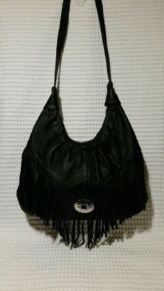 black leather fringed crescent shoulder bag purse $77.99