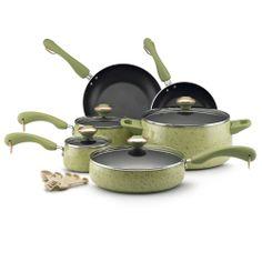 Paula Deen Collection Porcelain Nonstick 15-piece Set, Green Speckle | Overstock.com Shopping - Great Deals on Paula Deen Cookware Sets