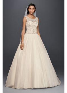 Oleg Cassini Illusion Tank Ball Gown Wedding Dress 4XLCV745