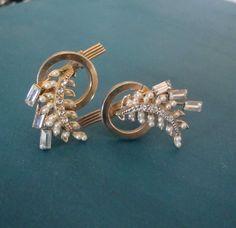 Vintage Art Deco Rhinestone Earrings Long & by CrimsonVintique, $32.00