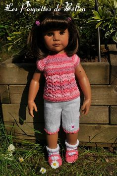 Mélissa vous présente la seconde version ... Crochet Doll Dress, Knitted Dolls, Knit Crochet, Diy Vetement, Gotz Dolls, Journey Girls, American Girl Clothes, Doll Costume, Savannah