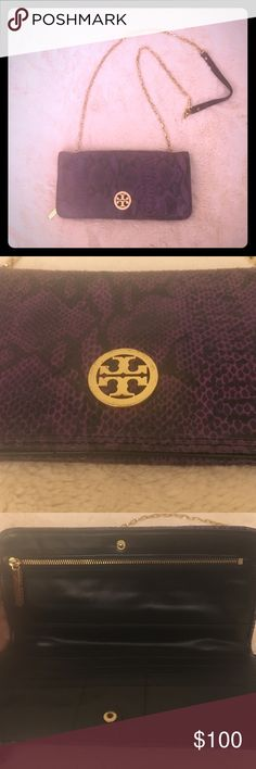 """⬇️ Tory Burch Crocodile Wallet on Chain Crossbody fantastic condition authentic Tory Burch wallet on chain/ crossbody. Gold hardware no damages on chain but slight scratches on logo as pictured above. Exterior and Interior is in excellent shape as pics show, genuine leather and has great """"crocodile"""" feel. MAKE AN OFFER  Tory Burch Bags Crossbody Bags"""