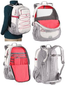 The North Face Women's Borealis Backpack Daypack Bookbag with Pink interior. Over a dozen pockets/compartments and a laptop sleeve in this back to school backpack. http://zantoos.com/north-face-borealis-womens-backpacks.html