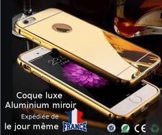 Coque miroir extra fine et résistante pour Iphone 6 contour en aluminium, partie miroir en Pc   Livraison Gratuite et Rapide pour la France