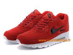 brand new bb1d1 28075 Officiel Nike Air Max 90 GS Chaussures Nike Pas Cher Pour Femme Rouge