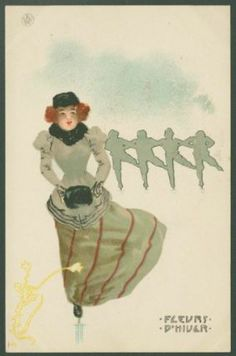 Raphael Kirchner, Woman ice skating, from the series Ice Flowers, French, 1899.