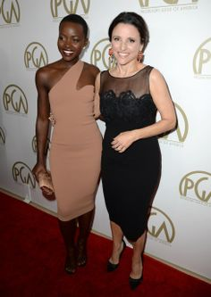 Lupita Nyong'o and Julia Louis-Dreyfus arrive at the 25th annual Producers Guild of America (PGA) Awards at the Beverly Hilton Hotel on ...