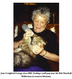 "c.2001 - Jean Craighead George feeding baby wolf cub (author of ""Julie & the Wolves"")"