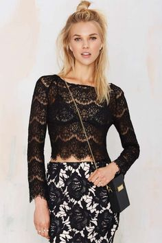Glamorous Just In Lace Crop Top - Black | Shop Clothes at Nasty Gal!