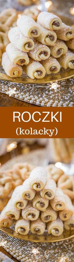 Roczki Cookies (Kolacky) are made with a tender, yeasted dough rolled up in a cigar shape with a simple, lemony, ground nut filling.savingdessert… Read Recipe by savingdessert Polish Desserts, Polish Recipes, Cookie Desserts, Just Desserts, Cookie Recipes, Delicious Desserts, Dessert Recipes, Polish Food, Baking Desserts
