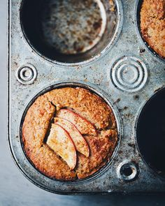 Apple almond & buckwheat muffins with golden pockets of apple sauce in the centre. New recipe  video up on the blog. by gkstories