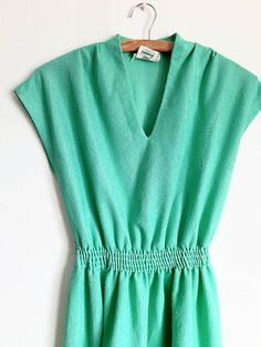 Mint Green Dress, Union Made, Vintage Dresses, My Etsy Shop, Slip On, Comfy, Check, Shopping, Tops